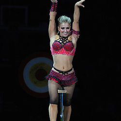 30 January 2009:  Contortionist, Lilia Stepanova performs at halftime during a NBA game between the New Orleans Hornets and the Golden State Warriors at the New Orleans Arena in New Orleans, LA.