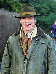 © Licensed to London News Pictures.26/12/2017.<br /> CHIDDINGSTONE, UK.<br /> Nigel Farage arriving at the hunt meeting point at Chiddingstone Castle.<br /> Old Surrey Burstow and West Kent boxing day hunt at Chiddingstone Castle<br /> Photo credit: Grant Falvey/LNP
