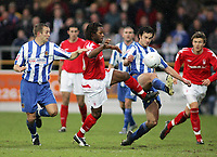 Photo: Paul Thomas.<br /> Chester City v Nottingham Forest. The FA Cup.<br /> 03/12/2005.<br /> <br /> Forest's David Johnson and Chester's Stewart Drummond.