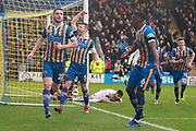 Shrewsbury Town's Luke Waterfalls 30 scores the second goal for Shrewsbury and runs to celebrate with the fans  during the The FA Cup fourth round match between Shrewsbury Town and Wolverhampton Wanderers at Greenhous Meadow, Shrewsbury, England on 26 January 2019.