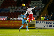 Stevenage's defender Jack King and Coventry's forward Maxime Biamou during the EFL Sky Bet League 2 match between Stevenage and Coventry City at the Lamex Stadium, Stevenage, England on 21 November 2017. Photo by Matt Bristow.