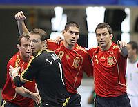 Fussball  International  FIFA  FUTSAL WM 2008   03.10.2008 Vorrunde Gruppe D Libya - Spain Lybien - Spanien Von links MARCELO (ESP); LUIS AMADO (ESP); KIKE (ESP) und TORRAS (ESP) freuen sich nach einem Tor.