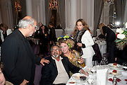 ALAN YENTOB; SIR VIDIA NAIPAUL; KATRINE BOORMAN; JEANNE MARINE, Liberatum 10th Anniversary dinner in honour of Sir Peter Blake. Hosted by Pable Ganguli and Ella Krasner. The Corinthia Hotel, Whitehall. London. 23 November 2011.