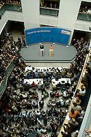 30 MAY 2005, BERLIN/GERMANY:<br /> Edmund Stoiber (L), CSU, Ministerpraesident Bayern, und Angela Merkel (R), CDU Bundesvorsitzender, waehrend einer Pressekonferenz zur Nominierung von Angela Merkel als Kanzlerkandidatin der CDU/CSU in der bevorstehenden Bundestagswahl durch eine gemeinsamen Praesidiumssitzung von CDU und CSU, Bundesgeschaeftsstelle der CDU<br /> IMAGE: 20050530-04-020<br /> KEYWORDS: Übersicht, Uebersicht, Journalisten