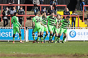 FGR players celebrate Forest Green's Kurtis Guthrie opening goal during the Vanarama National League match between Bromley FC and Forest Green Rovers at Hayes Lane, Bromley, United Kingdom on 28 March 2016. Photo by Shane Healey.