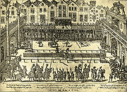 Tournament In honour of the marriage of Duke Emmanuel, Philbert of Savoy, with Margaret, sister of Henry II, King of Spain, in 1759 in Paris. Shown meeting the King of France, The Duke of Savoy, Count of the Egmont, the Prince of Aurangi, the Hertzog of Alba and the Horn of Graff.  The King of France was accidentally wounded and died a few days later.