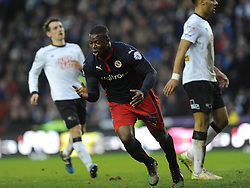 Readings Yakubu Celebrates His Goal Readings Second and Winning Goal, at Derby, Derby County v Reading, FA Cup 5th Round, The Ipro Stadium, Saturday 14th Febuary 2015