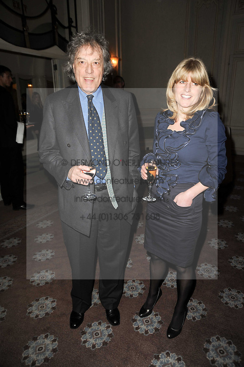 SIR TOM STOPPARD and RACHEL JOHNSON at a party to celebrate Penguin's reissue of Nancy Mitford's 'Wigs on The Green' hosted by Tatler at Claridge's, Brook Street, London on 10th March 2010.