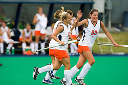August 29, 2008 - CHARLOTTESVILLE, VA -  Virginia Cavaliers Floor Vogels (20) reacts after a UVA goal.  The Virginia Cavaliers field hockey team defeated the William and Mary Tribe 5-0 on the University Hall Turf Field on the Grounds of the University of Virginia in Charlottesville, VA.