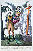 Allegorical print of Napoleon Bonaparte after the first celebration of Mass after the restablishment in France of the Roman Catholic church, April 1802.  Coloured engraving.