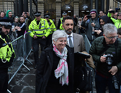 Pictured: Professor Ponsati leaves court with her lawyer Aamer Anwar after being granted bail..<br /> <br /> Former Catalan government minister Professor Clara Ponsati appeared in court in Edinburgh, Scotland today, in response to a European arrest warrant issued by the Spanish prosecutors following the disputed Catalan independence referendum last year, which Spain has ruled illegal.<br /> <br /> © Dave Johnston/ EEm