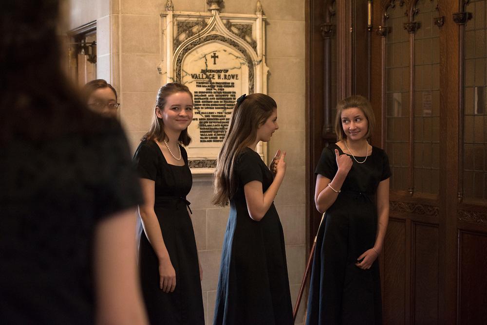 Pittsburgh Girls Choir before their Christmas Concert at Shadyside Presbyterian Church.