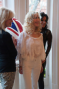 JOANNA LUMLEY; BASIA BRIGGS; NANCY DELL D'OLIO, Party given by Basia Briggs and Richard Briggs at their home in Chelsea. London. 14 May 2012
