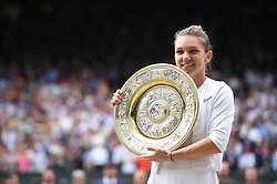 Simona Halep (ROU) defeats Serena Williams (USA) in the women final at the 2019 Wimbledon Championships at the AELTC in London, UK, on July 13, 2019. Photo by Corinne Dubreuil/ABACAPRESS.COM