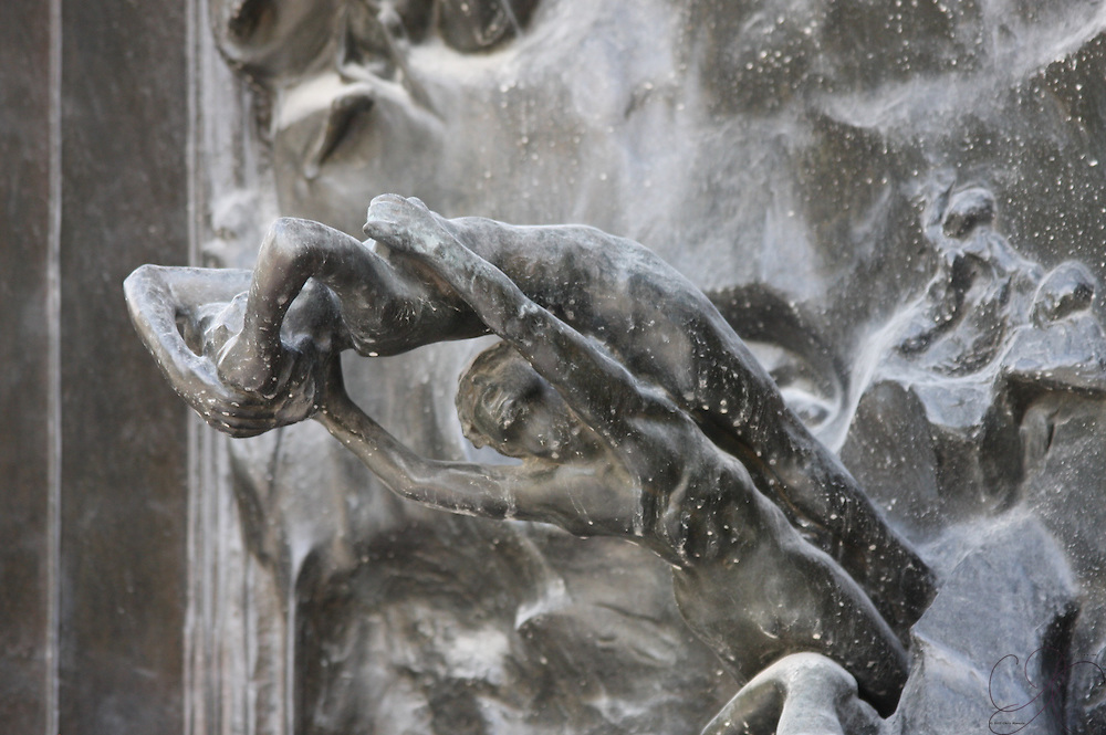 A close-up section of Rodin's Gates of hell at the Rodin museum in Paris.