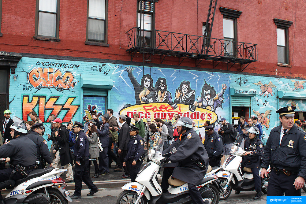 Protesters after the Occupy Brooklyn march over the Williamsburg Bridge, march through Soho New York, USA. 1st May 2012. Photo Tim Clayton