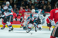 KELOWNA, CANADA - APRIL 7: Cal Foote #25 of the Kelowna Rockets skates with the puck against the Portland Winterhawks on April 7, 2017 at Prospera Place in Kelowna, British Columbia, Canada.  (Photo by Marissa Baecker/Shoot the Breeze)  *** Local Caption ***