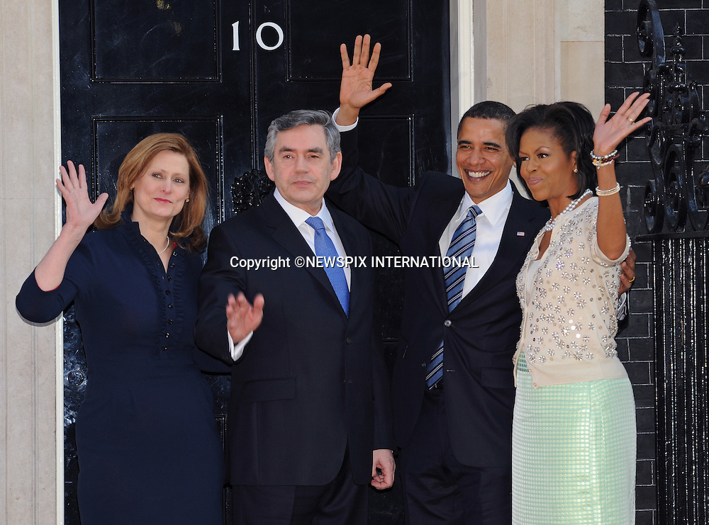 PRESIDENT BARACK OBAMA & WIFE MICHELLE MEET THE BROWNS .for breakfast at No.10 Downing Street, London_01/04/2009.Prime Minister Gordon Brown looked a worried man for most of the time..The Obamas are in  London for the G20 Summit.PHOTO CREDIT MANDATORY: ©Dias/NEWSPIX INTERNATIONAL  .(Failure to by-line the photograph will result in an additional 100% reproduction fee surcharge)..            *** ALL FEES PAYABLE TO: NEWSPIX INTERNATIONAL ***..IMMEDIATE CONFIRMATION OF USAGE REQUIRED:Tel:+441279 324672..Newspix International, 31 Chinnery Hill, Bishop's Stortford, ENGLAND CM23 3PS.Tel: +441279 324672.Fax: +441279 656877.Mobile: +447775681153.e-mail: info@newspixinternational.co.uk