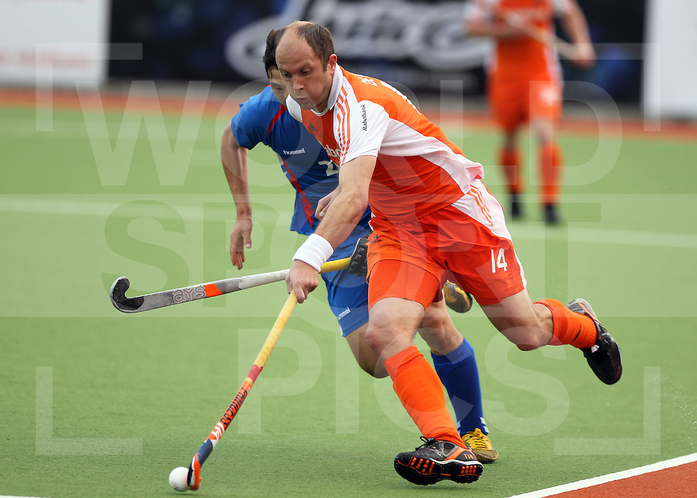 Mens Champions Trophy, Auckland, New Zealand 2011. Day 1 Netherlands v Korea.Teun De Nooijer of the Netherlands..Photo: Grant Treeby.one off Editorial Use only,( no archiving )......................Photo: Grant Treeby...Editorial use only (No Archiving) Unless previously arranged