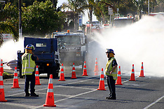 Auckland-Ruptured gas main on Great South Road, Manurewa