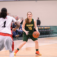 5th year guard Caitlin Zacharias (15) of the Regina Cougars during the Women's Basketball home game on January 27 at Centre for Kinesiology, Health and Sport. Credit: Arthur Ward/Arthur Images