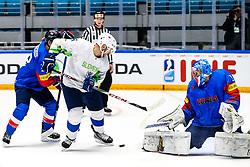 Bostjan Golicic of Slovenia vs Matt Dalton of South Korea during ice hockey match between South Korea and Slovenia at IIHF World Championship DIV. I Group A Kazakhstan 2019, on April 30, 2019 in Barys Arena, Nur-Sultan, Kazakhstan. Photo by Matic Klansek Velej / Sportida