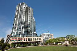 United States, Washington, Bellevue, City Hall plaza and skyscraper