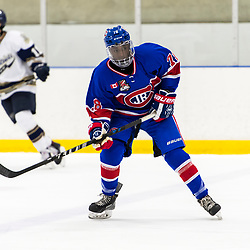 TORONTO, ON  - OCT 29,  2017: Ontario Junior Hockey League game between the Toronto Jr. Canadiens and the Toronto Patriots, Noah Hippolyte-Smith #78 of the Toronto Jr. Canadiens follows the play during the third period.<br /> (Photo by Catherine Kim / OJHL Images)