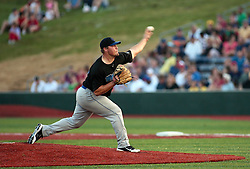 "1 June 2010: Matt Jernstad on the mound. The Windy City Thunderbolts are the opponents for the first home game in the history of the Normal Cornbelters in the new stadium coined the ""Corn Crib"" built on the campus of Heartland Community College in Normal Illinois."