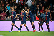 Angel Di Maria (PSG) scored a goal and celebrated it with Edinson Roberto Paulo Cavani Gomez (El Matador) (El Botija) (Florestan) (PSG), Julian Draxler (PSG), Moussa DIABY (PSG), Christopher Alan NKUNKU (PSG) )during the French Championship Ligue 1 football match between Paris Saint-Germain and AS Saint-Etienne on September 14, 2018 at Parc des Princes stadium in Paris, France - Photo Stephane Allaman / ProSportsImages / DPPI