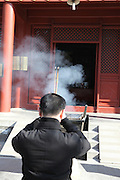 China, Beijing, Yonghegong Lama temple Burning essence