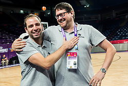 Matej Likar and Marko Macura, medical doctor at practice session of Team Slovenia 1 day before final match against Serbia at Day 17 of FIBA EuroBasket 2017 at Sinan Erdem Dome in Istanbul, Turkey on September 16, 2017. Photo by Vid Ponikvar / Sportida