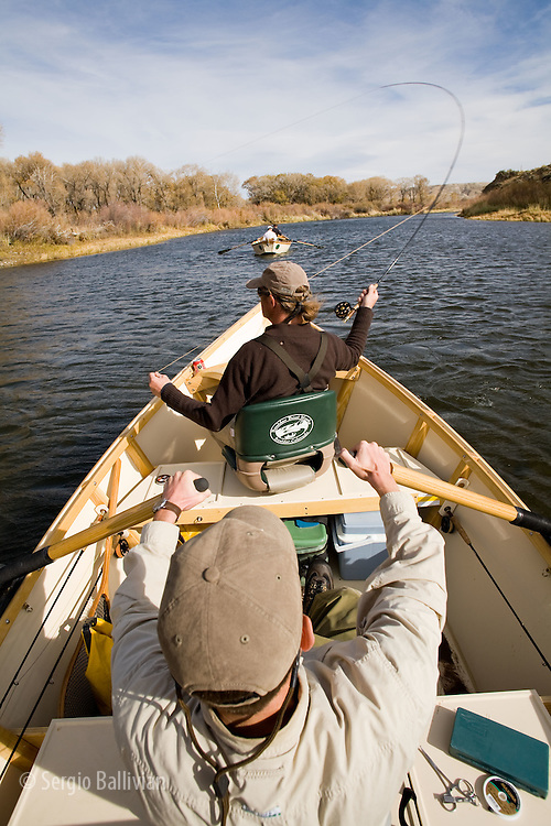 Flyfishing from a driftboat on the North Platte River in Wyoming in mid-October.