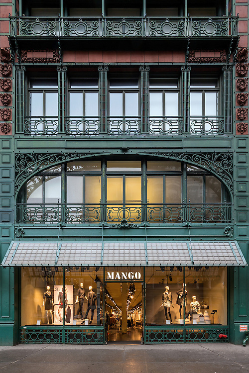 The interior and exterior of the Mango store in the Singer  Manufacturing Company building on Broadway in Soho, New York City.