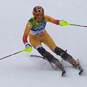 Winter Olympics, Vancouver, 2010. Brigitte Acton, Canada, in action in the Alpine Skiing Ladies Slalom at Whistler Creekside, Whistler, during the Vancouver Winter Olympics. 24th February 2010. Photo Tim Clayton
