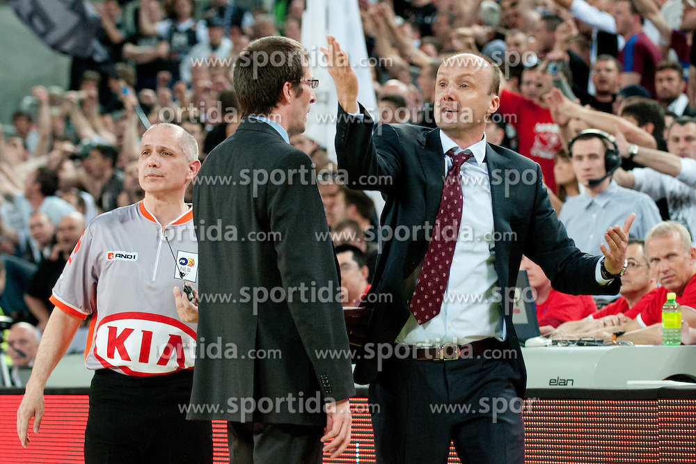 Jure Zdovc (head coach of Union Olimpija) upset about referees during final match of Basketball NLB League at Final Four tournament between KK Union Olimpija (SLO) and Partizan Belgrade (SRB), on April 21, 2011 at SRC Stozice, Ljubljana, Slovenia. (Photo By Matic Klansek Velej / Sportida.com)