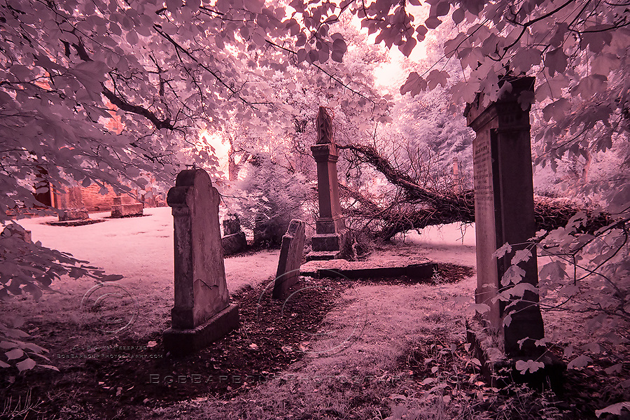 Infrared photography tombstones in grave yard Scotland