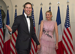 April 24, 2018 - Washington, District of Columbia, U.S. - JARED KUSHNER AND IVANKA TRUMP arrive for the State Dinner honoring Dinner honoring French President at the White House. (Credit Image: © Ron Sachs/CNP via ZUMA Wire)