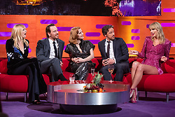 (left to right) Sophie Turner, Michael Fassbender, Jessica Chastain, James McAvoy and Taylor Swift during the filming of the Graham Norton Show at BBC Studioworks 6, Television Centre, Wood Lane, London, to be aired on BBC One on Friday evening.
