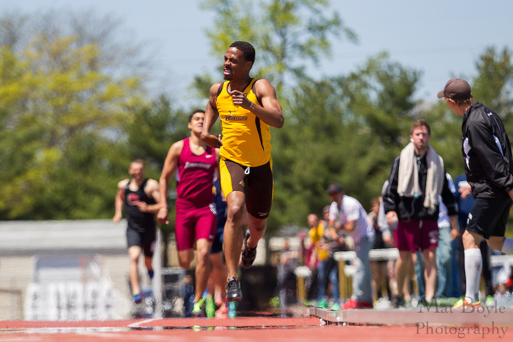 Rowan University's Jameer Roberts competes in the men's 800 meter at the NJAC Track and Field Championships at Richard Wacker Stadium on the campus of  Rowan University  in Glassboro, NJ on Sunday May 5, 2013. (photo / Mat Boyle)