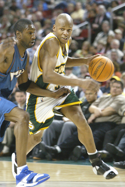 27 March 2005: Ray Allen (#34) of the Seatle Supersonics, about to drive the lane in a loosing effort to the Washington Wizards (95-94) at the Key Arena in Seattle, Washington..Mandatory Credit: Rob Holt/Icon SMI