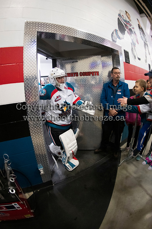 KELOWNA, CANADA - JANUARY 4: James Porter #1 of the Kelowna Rockets exits the ice for second period against the Prince George Cougars on January 4, 2019 at Prospera Place in Kelowna, British Columbia, Canada.  (Photo by Marissa Baecker/Shoot the Breeze)