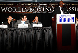 July 13, 2009; New York, NY, USA; Jermain Taylor speaks at the press conference at Madison Square Garden announcing the Super Six World Boxing Classic, which will pit six of the world's top super middleweights in a series of bouts.