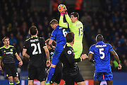 Chelsea goalkeeper Thibaut Courtois (13) collects the ball during the Premier League match between Leicester City and Chelsea at the King Power Stadium, Leicester, England on 14 January 2017. Photo by Jon Hobley.