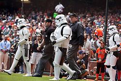 September 4, 2011; San Francisco, CA, USA;  Star Wars storm troopers escort MLB umpires to the field before the game between the San Francisco Giants and the Arizona Diamondbacks at AT&T Park.
