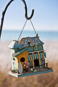Hanging beach shop birdfeeder at beachfront holiday home, Anna Maria Island, Florida