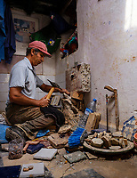 RABAT, MOROCCO - CIRCA APRIL 2017: Mosaic worker at the Kasbah Oudayas in Rabat
