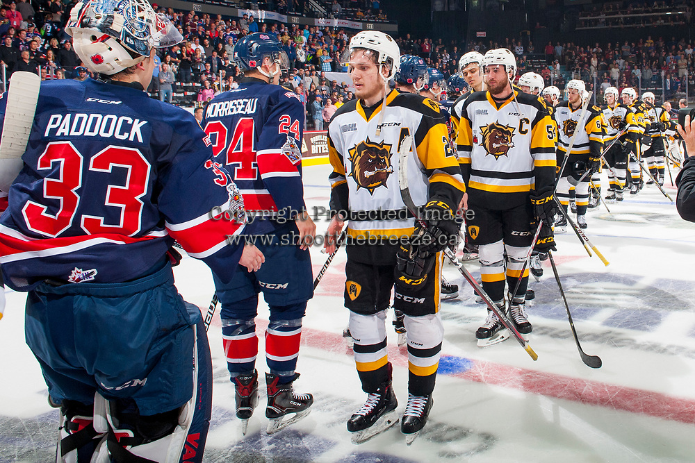 REGINA, SK - MAY 25: The Regina Pats shake hands with the Hamilton Bulldogs and advance to the final at the Brandt Centre on May 25, 2018 in Regina, Canada. (Photo by Marissa Baecker/CHL Images)