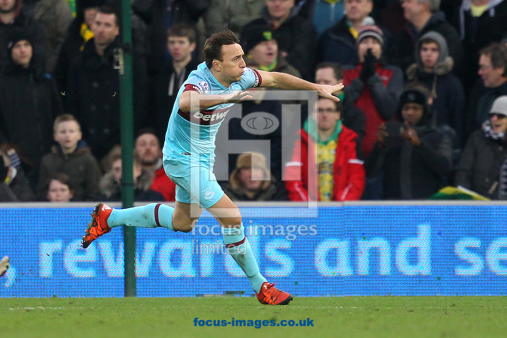 Mark Noble of West Ham celebrates scoring his sides 2nd goal during the Barclays Premier League match at Carrow Road, Norwich<br /> Picture by Paul Chesterton/Focus Images Ltd +44 7904 640267<br /> 13/02/2016