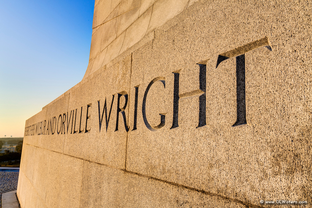 A detail photograph of the Wright Brothers Monument in Kill Devil Hills NC.